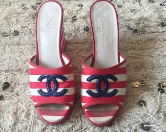 Vintage CHANEL CC Red White & Blue Striped Wedge Heels Sandals Mules eu 36.5 us 6 - 6.5