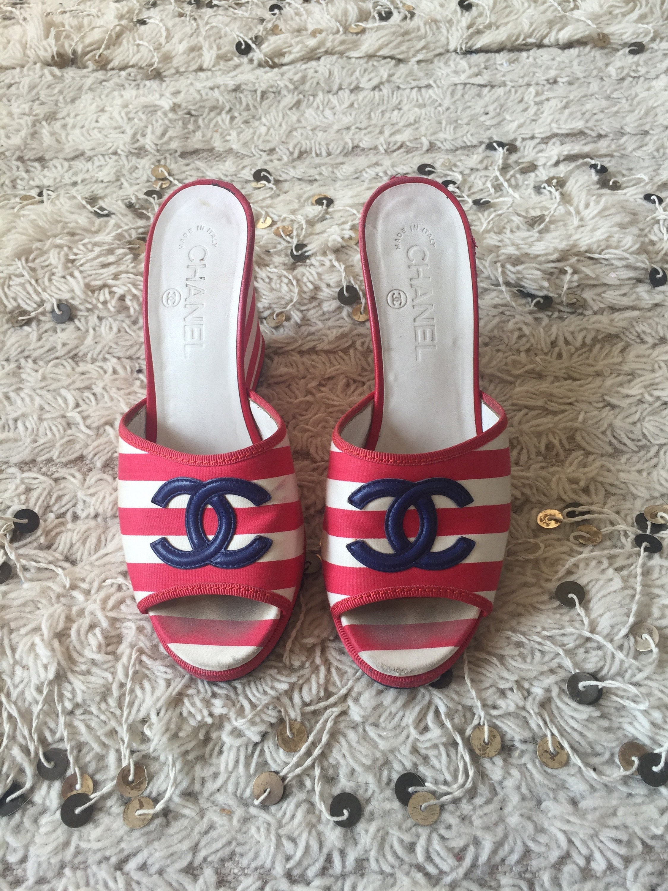 a3b1e9c64 Vintage CHANEL CC Red White   Blue Striped Wedge Heels Sandals