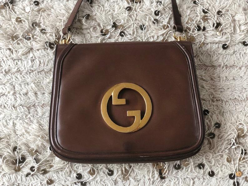 64beea8f21c95 Vintage GUCCI Dk. Brown Leather BLONDIE Brit 1973 Purse Shoulder Bag Huge  Gold GG's - Rare!