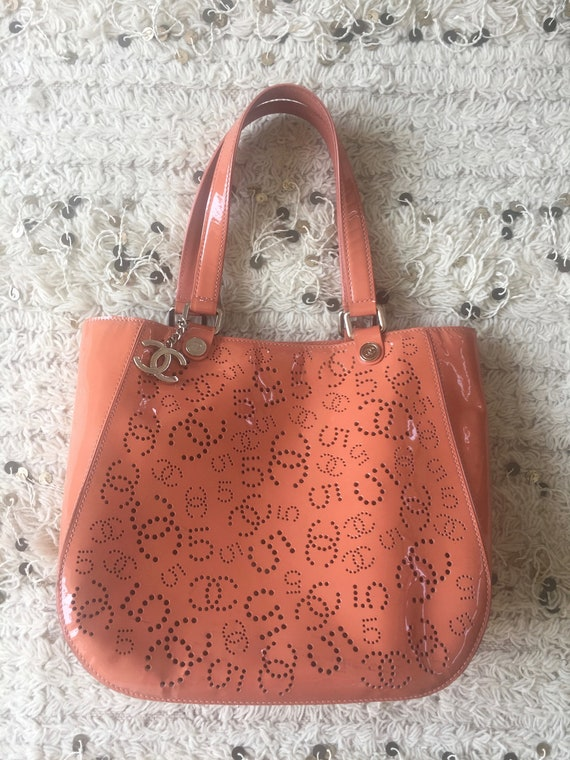 Vintage CHANEL Large Perforated CC s No 5 Logo Monogram  13ccd0438cd75