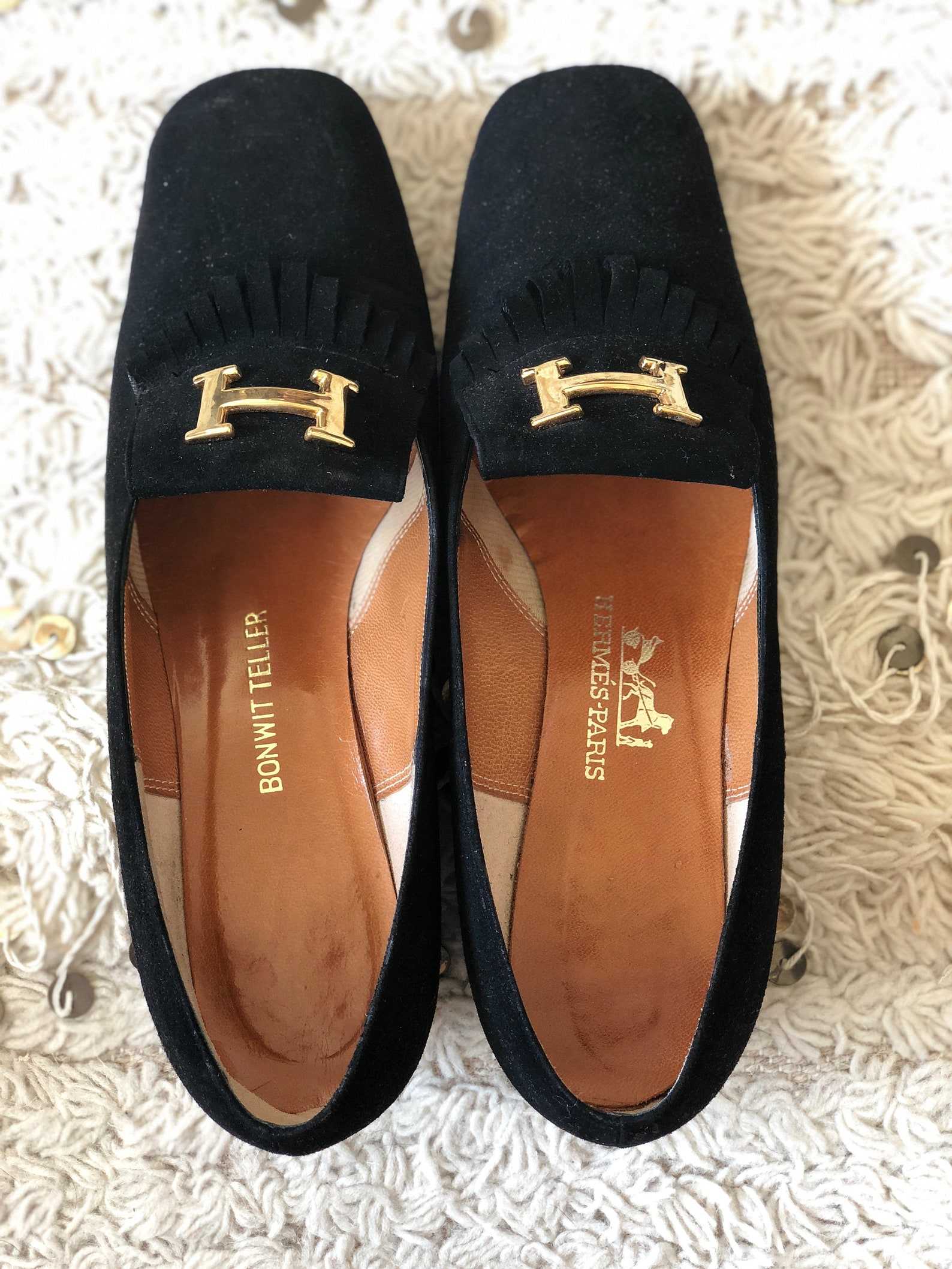 vintage hermes h gold logo black suede leather loafers heels driving shoes smoking slippers ballet flats eu 38 us 8