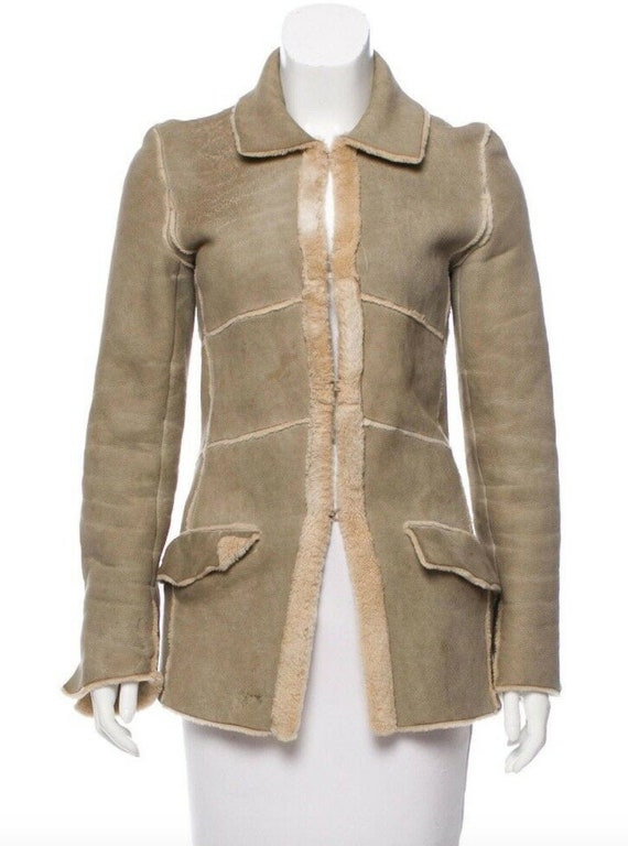 Vintage 90's CHANEL Leather Shearling Lambs Wool … - image 1