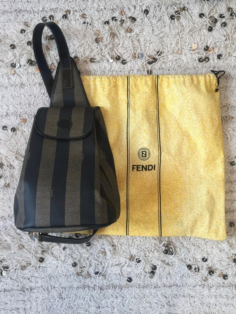 17d9211a4e45 Vintage FENDI FF Logo Pequin Stripe BACKPACK Sling Rucksack