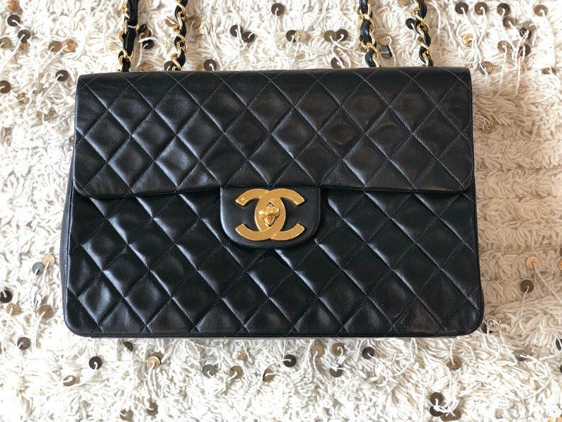 74d7aa11 Vintage 90's CHANEL Jumbo Maxi Matelasse CC Logo Turnlock Black Lambskin  Leather Crossbody Shoulder Bag Purse Chain Strap - Excellent Cond!