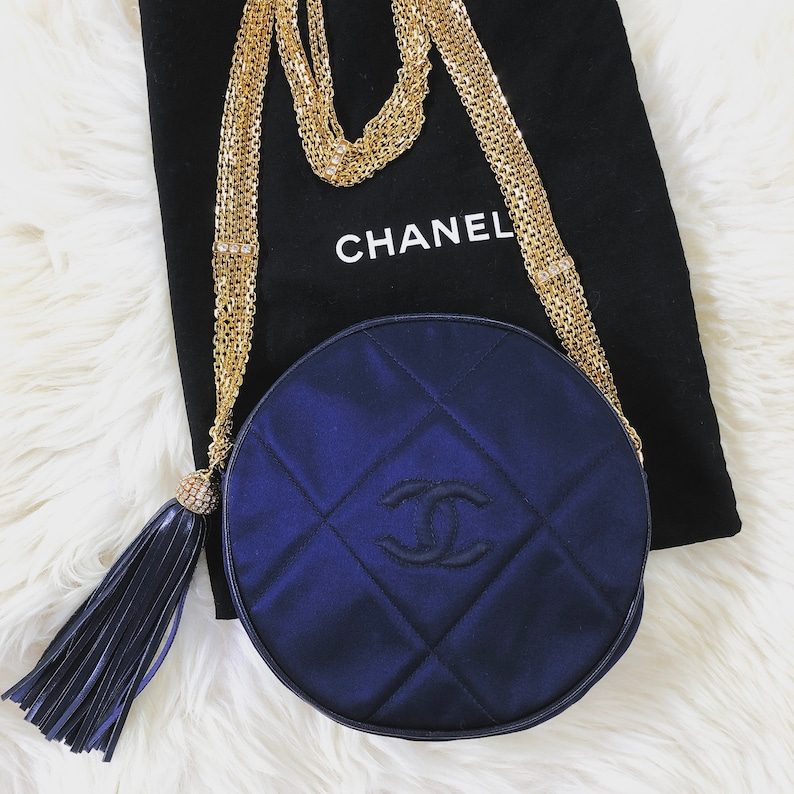 500105fd439c Vintage 90s CHANEL Round Circle CC Navy Blue Satin Quilted