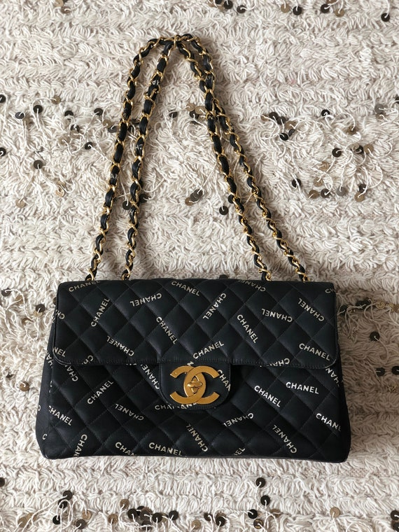 aeede9bc Vintage 90's CHANEL Jumbo Maxi CC Logos Monogram Black White Fabric  Turnlock Crossbody Shoulder Bag Purse Gold Chain Strap