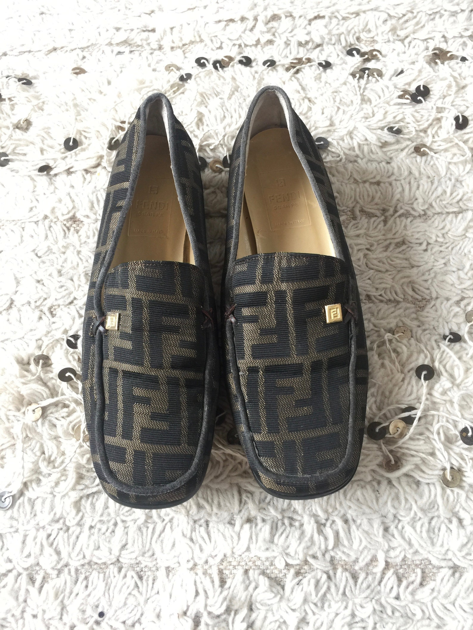 vintage fendi zucca ff monogram scarpe loafers flats driving shoes smoking slippers ballet flats 38 us 7.5 - 8