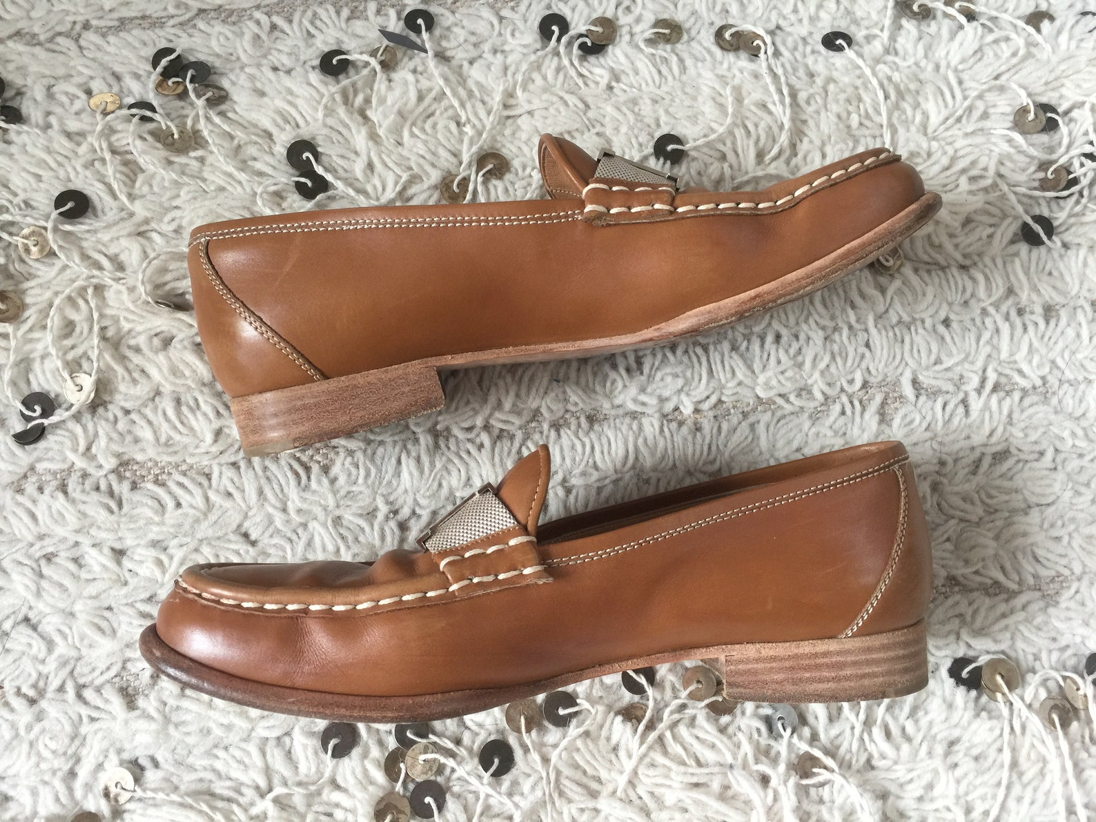 vintage hermes h logo brown leather webbing loafers flats driving shoes smoking slippers ballet flats eu 37 us 6.5 - 7