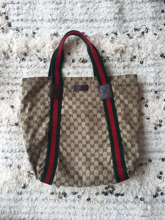 Vintage 80   s GUCCI GG grand monogramme rayure rouge vert   Etsy 73ac02e7eaf