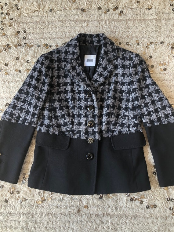 Vintage 90's MOSCHINO HOUNDSTOOTH Checkered SET! … - image 2