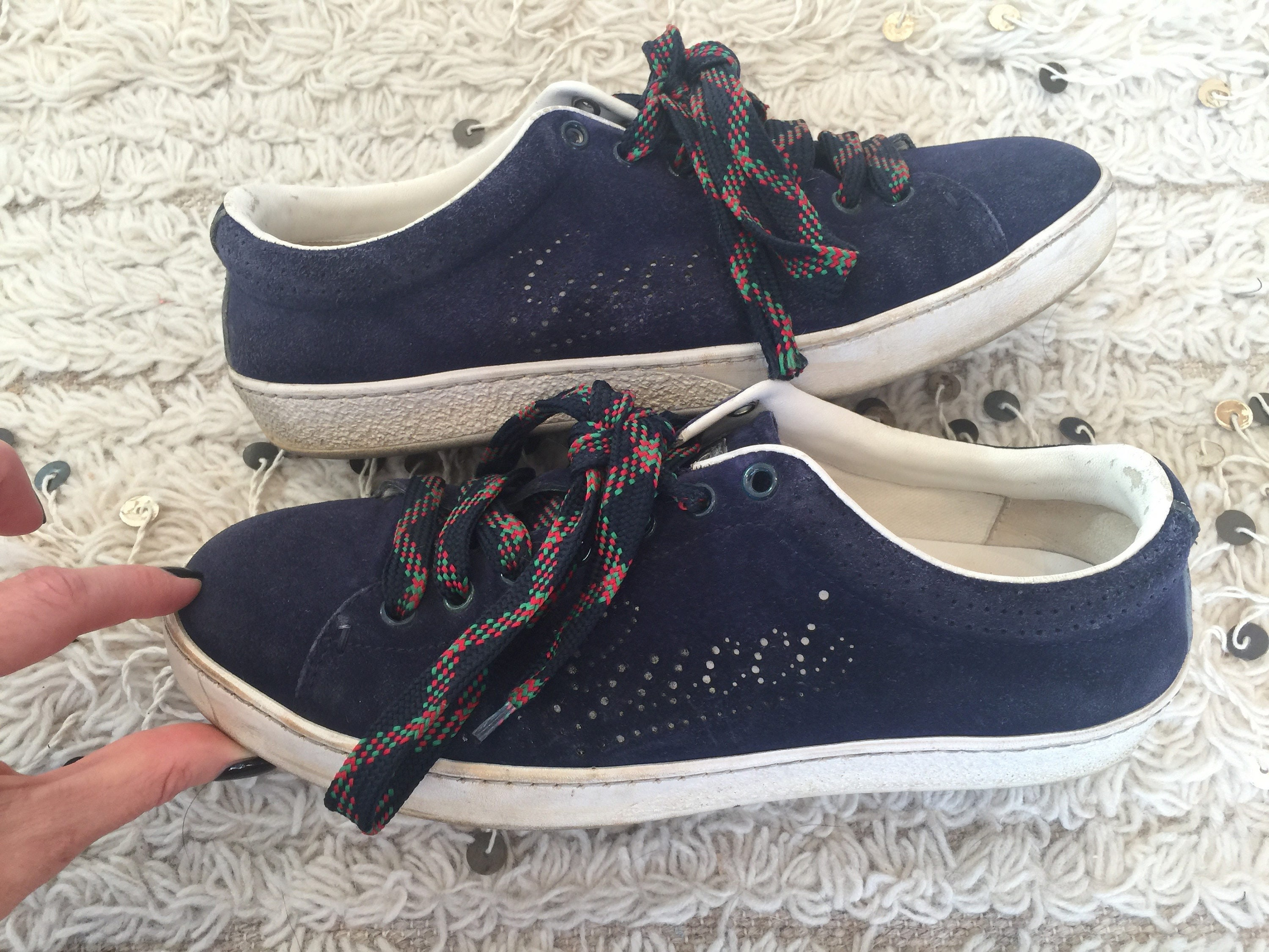 c78e5ae2c87 Vintage GUCCI Monogram Logo Webbing Lace Up Navy Suede Leather