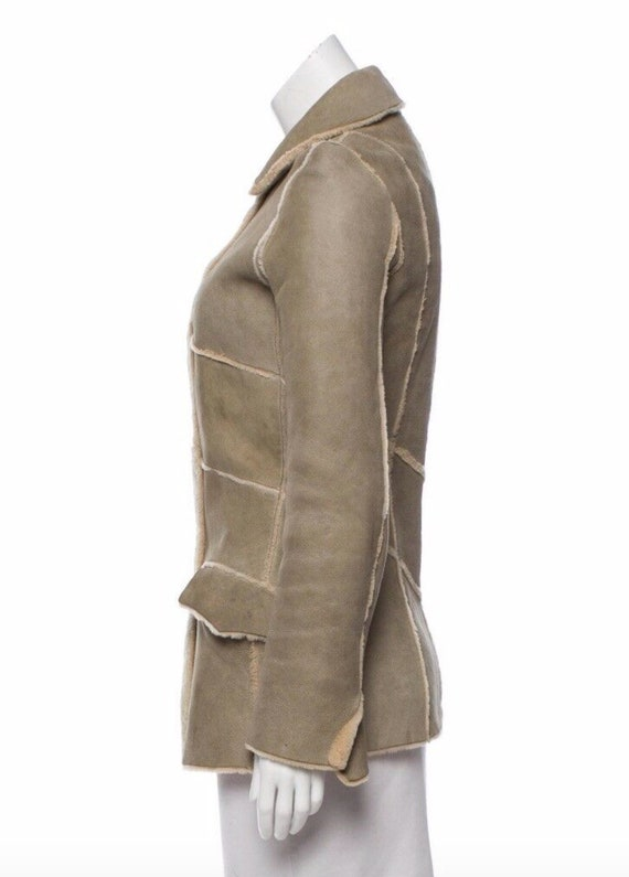 Vintage 90's CHANEL Leather Shearling Lambs Wool … - image 2
