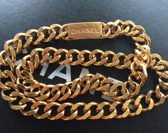 """Vintage CHANEL ID Logo Gold Large Thick Chain Necklace Waist Belt Buckle Gold S M L 37.5""""  Jewelry"""