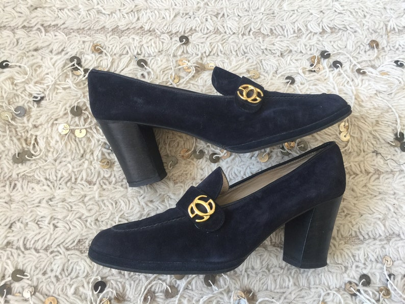 ef07c672 Vintage 70's GUCCI GG MONOGRAM Navy Suede Leather Loafers Slip On Smoking  Heels Pumps Shoes eu 39.5 us 8.5 - 9