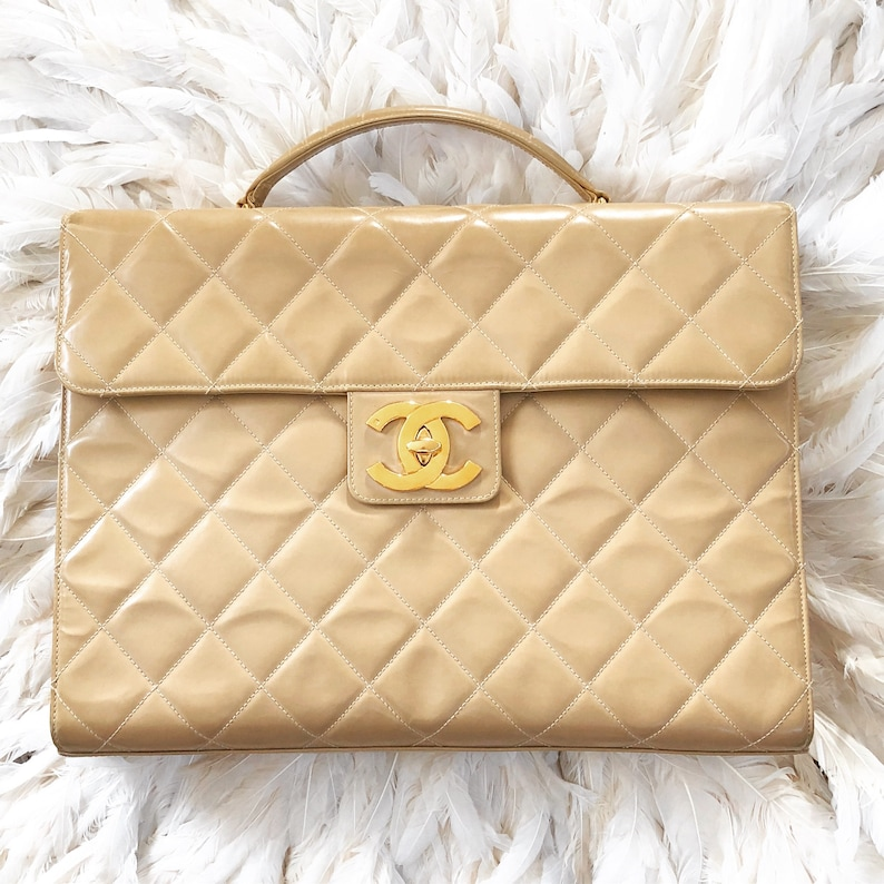 82935b19494f Vintage XL CHANEL CC Turnlock Matelasse Quilted Leather | Etsy