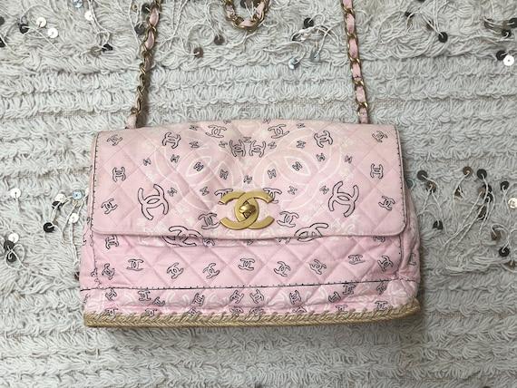 b9c7dff6204f5 Vintage 90's CHANEL Jumbo Maxi CC Logos Monogram Bandana Pink Fabric  Turnlock Crossbody Shoulder Bag Purse Chain Strap