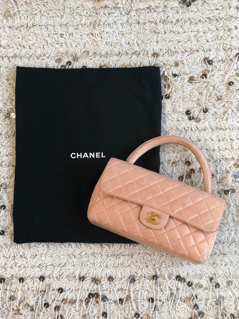 c9df18f71c5e2f Vintage CHANEL CC Logo Turnlock Beige Peach Quilted Metalasse | Etsy