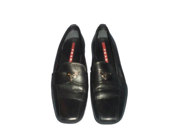 Vintage 90's PRADA Monogram Black Leather Loafers… - image 2