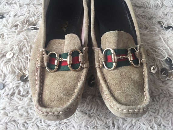 a2c8f052365 Vintage 70 s GUCCI GG Monogram SUPREME Red Green Webbing