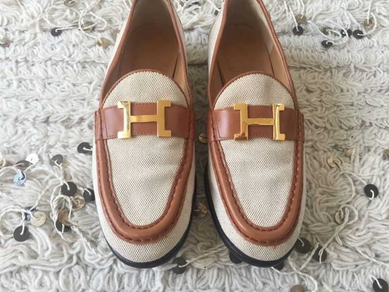 0c55ecf5 Vintage HERMES H Logo Canvas & Brown Leather Loafers Flats Driving Shoes  Smoking Slippers Ballet Flats eu 37 us 6.5 - 7