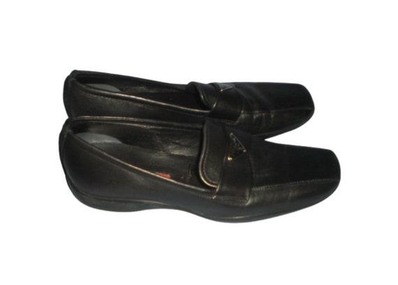 Vintage 90's PRADA Monogram Black Leather Loafers… - image 3
