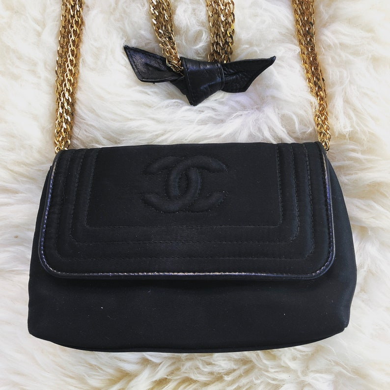b2cc23045b61 Vintage 90s CHANEL CC Black Satin Quilted w Gold Chains & | Etsy