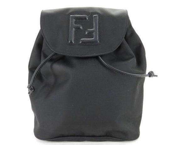 fa8ebf8a6cc Vintage 90 s FENDI FF Monogram Logo BACKPACK Leather Nylon   Etsy