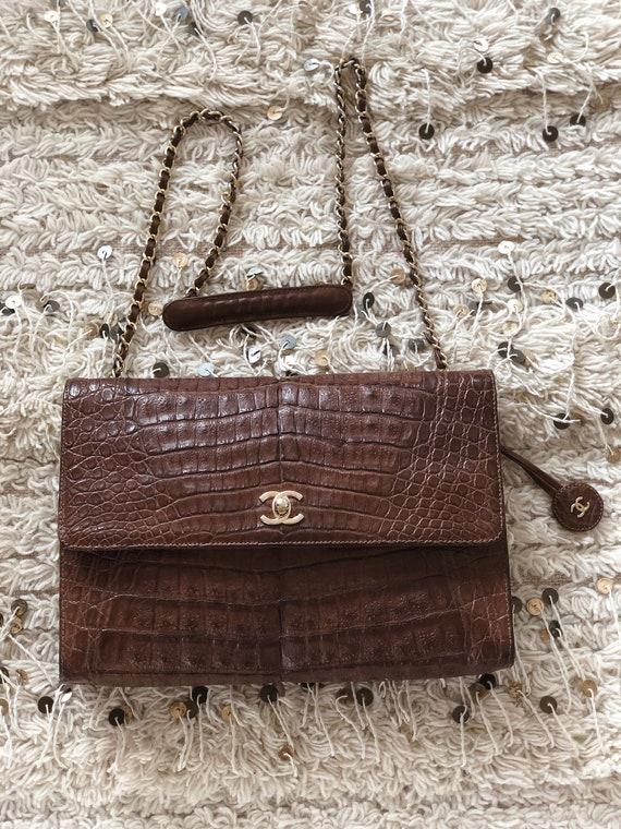8597f2a9a706d Vintage 90's CHANEL Jumbo Maxi ALLIGATOR CC Logo Turnlock Dk Brown Croco  Leather 2 way Crossbody Shoulder / Clutch Bag Purse Chain Strap