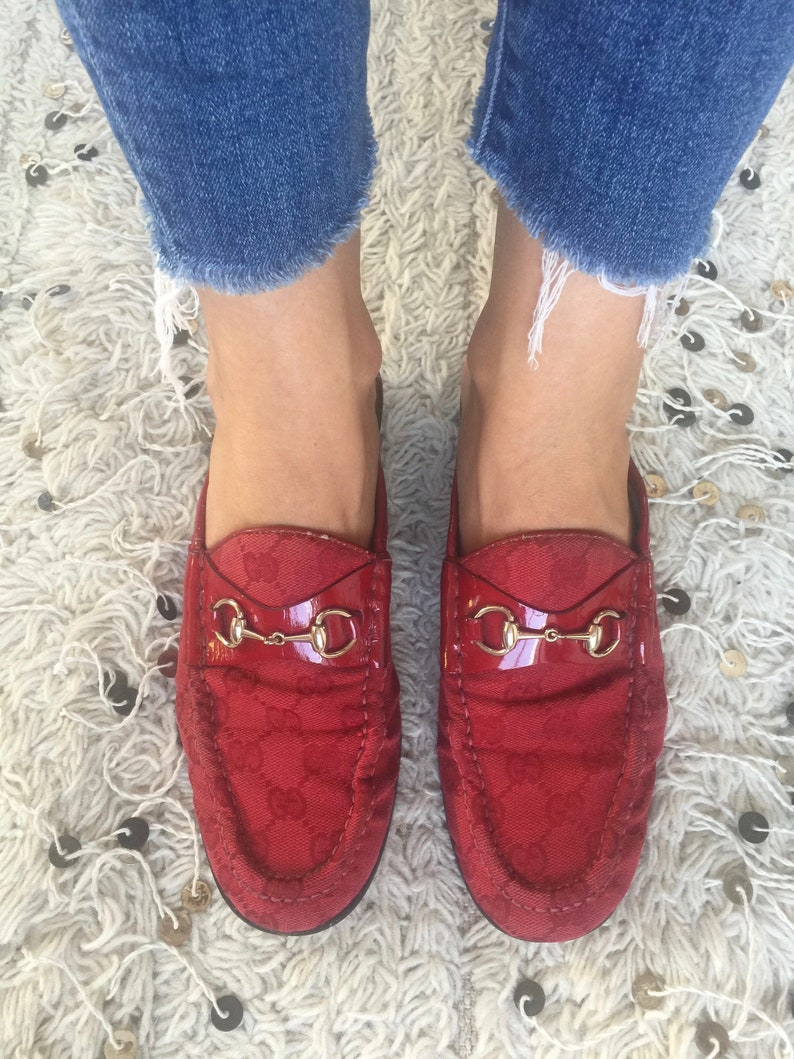 a1ee0848b9b Vintage GUCCI GG Guccissima Monogram RED Canvas Leather