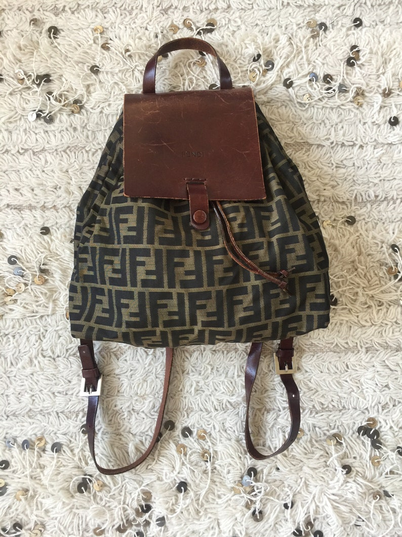 28d9501cd94d Vintage FENDI FF Zucca Logo Fendi BACKPACK Rucksack Travel