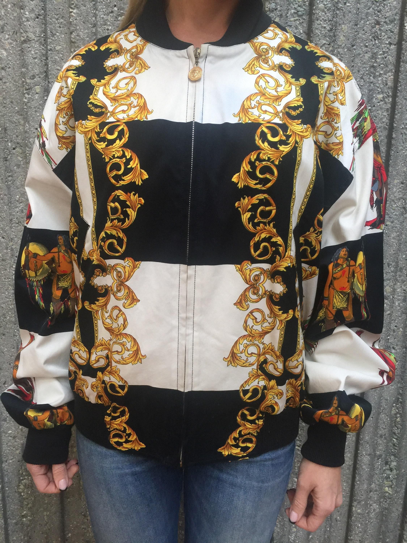 b0d54eeb4 Vintage GIANNI VERSACE Baroque Indian Tribal Print Bomber Jacket Dress top  S M - Super RARE!!!