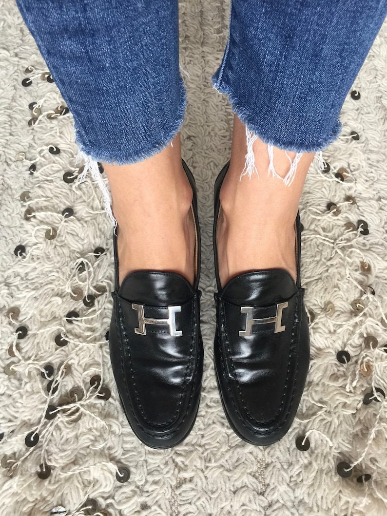 33aa1a98e49 Vintage HERMES H Logo Black Leather Loafers Heels Driving