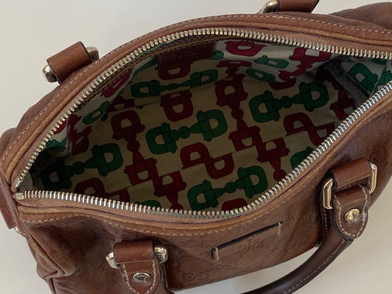 Vintage GUCCI GG Monogram Leather Embossed Logo M… - image 5