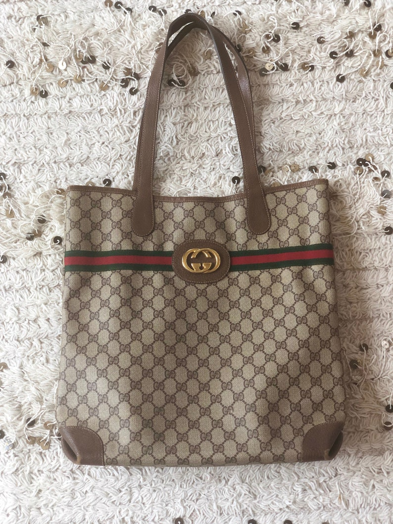 5372aa7413045 Vintage 80's GUCCI GG Monogram Green Red Webbing XL Supreme Shopper Tote  Handbag Shoulder Purse Carry All