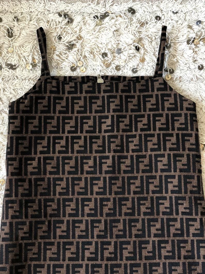 1f1aac24c00e Vintage FENDI FF ZUCCA Print Monogram Super Rare Mini Dress