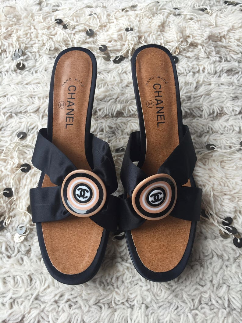 7a158736f Vintage CHANEL RETRO CC Logos Black Satin   Leather Mules