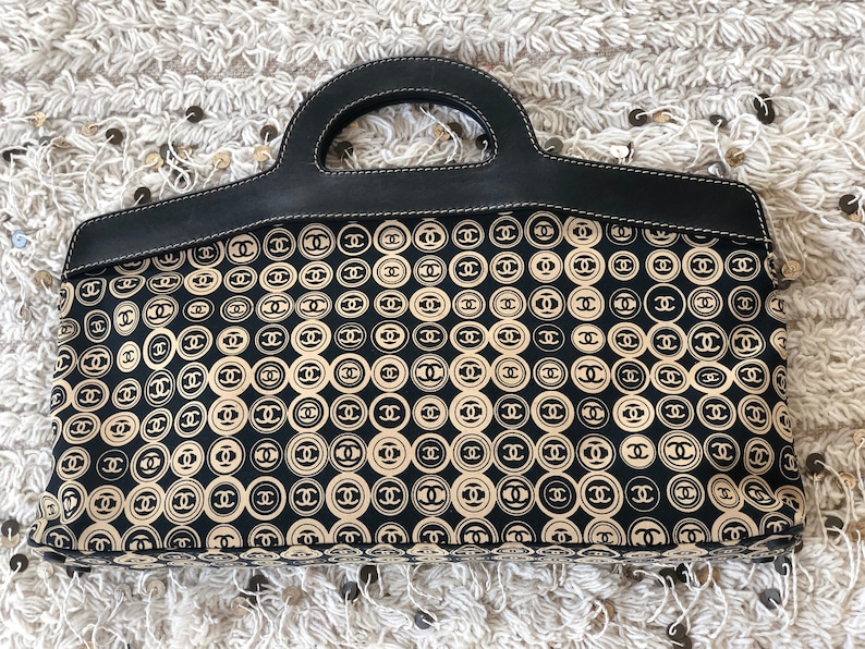 4a01ab809224 Vintage XL CHANEL CC Logo Mania Leather Monogram Fabric Print | Etsy