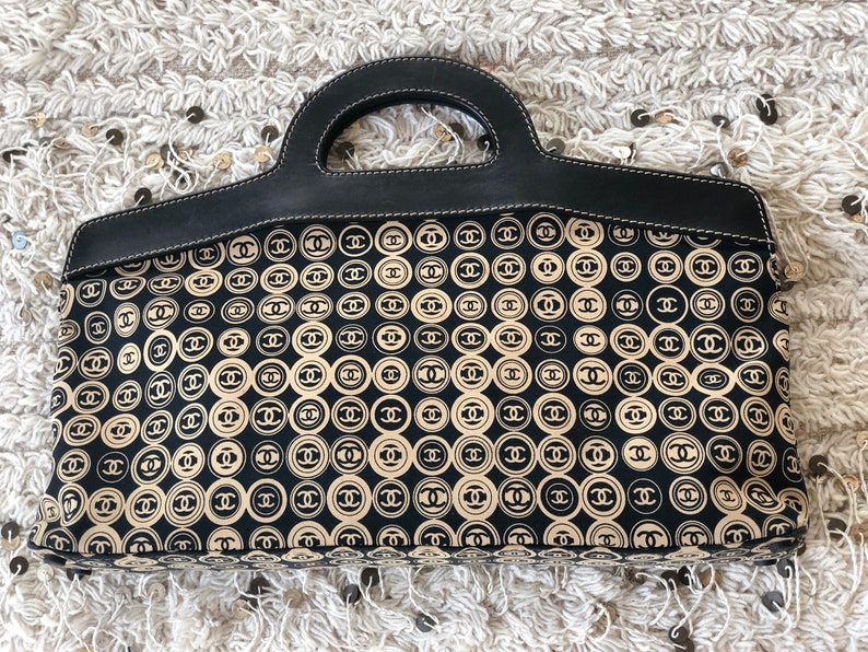 38e93043c37c Vintage XL CHANEL CC Logo Mania Leather Monogram Fabric Print | Etsy