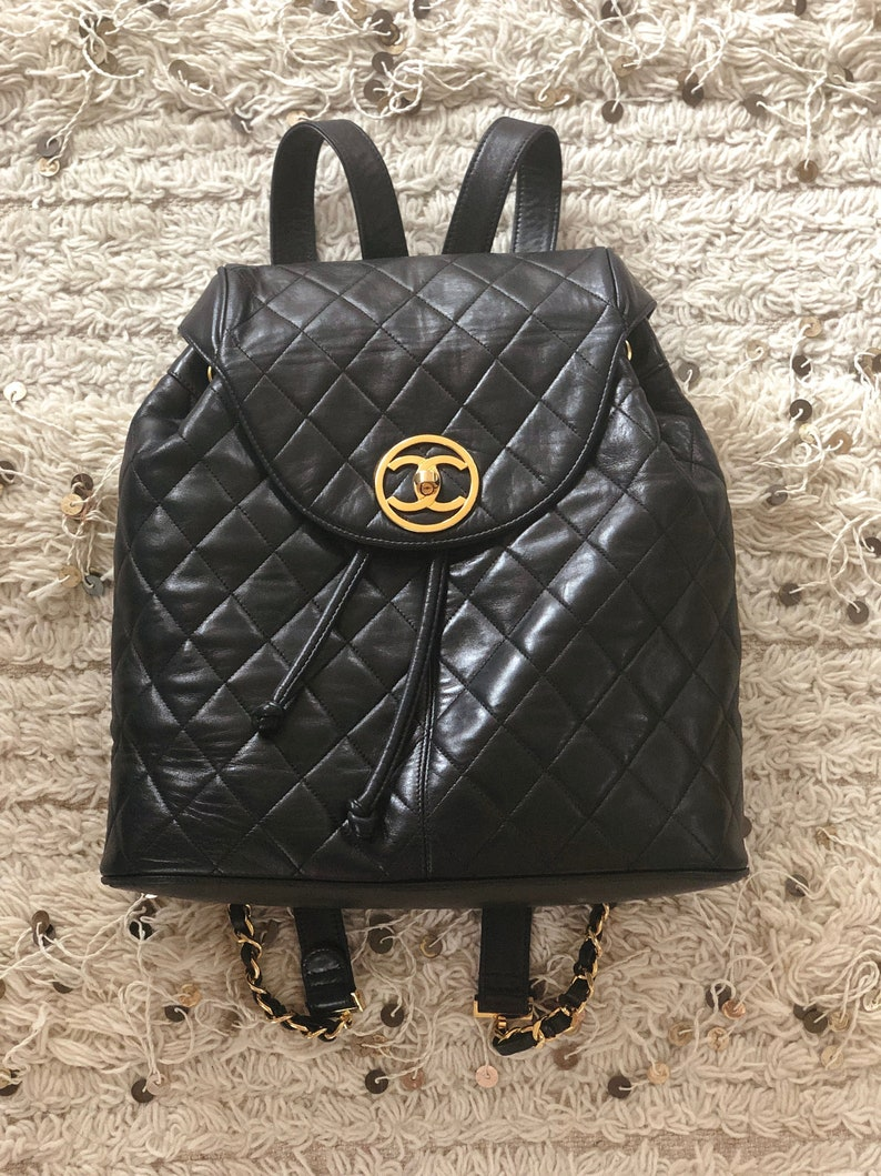 Vintage CHANEL X Large CC Turn lock Charm Matelasse Quilted  4891ed52a6bb6