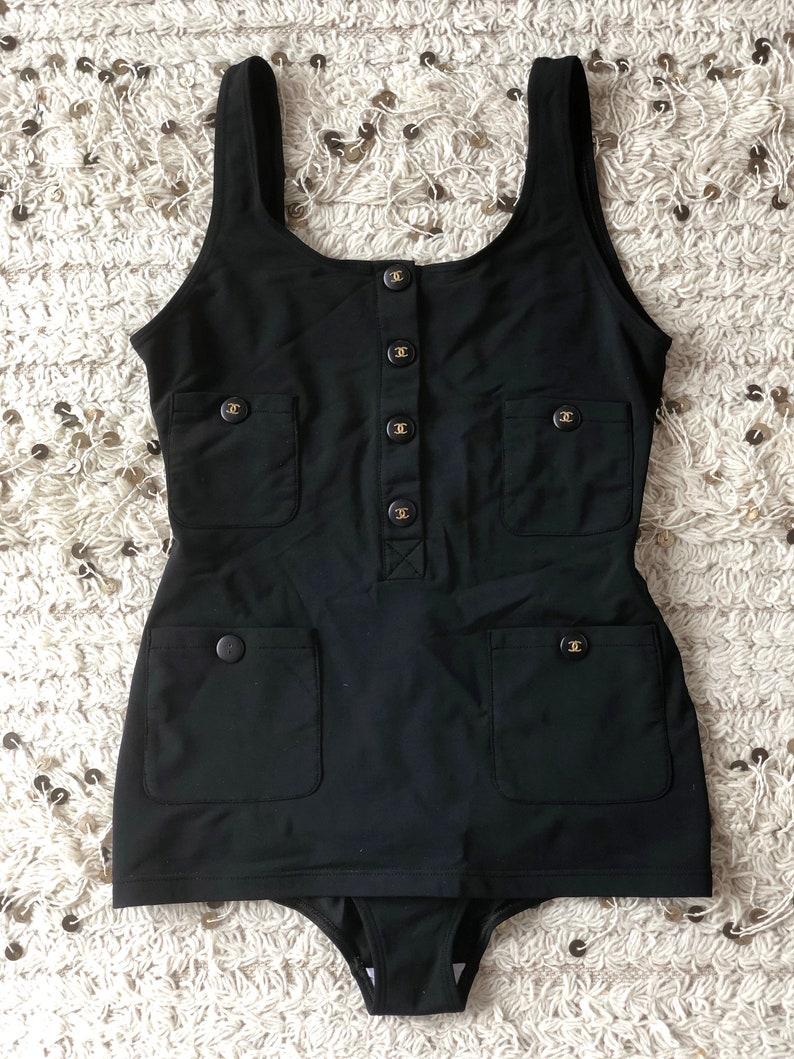 08e93117408b22 Vintage 90's CHANEL CC Logo Button Black Bathing Swim Suit | Etsy