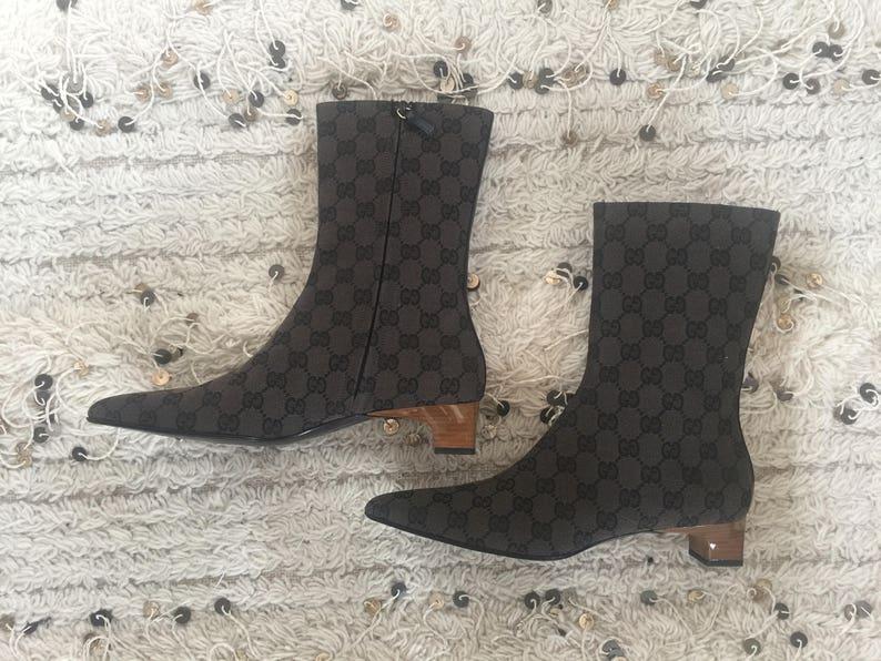 5c147a8bb07 Vintage Black Gray GUCCI GG Monogram Canvas Midi Boots w WOOD