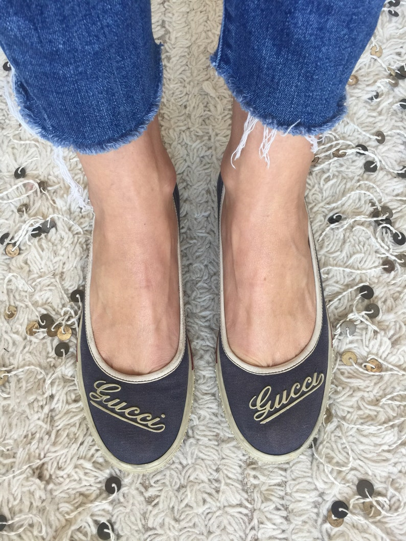 9e177d71888 Vintage 70 s GUCCI GG Monogram Navy Sneakers Trainers