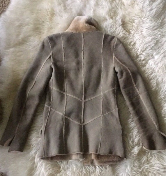 Vintage 90's CHANEL Leather Shearling Lambs Wool … - image 4