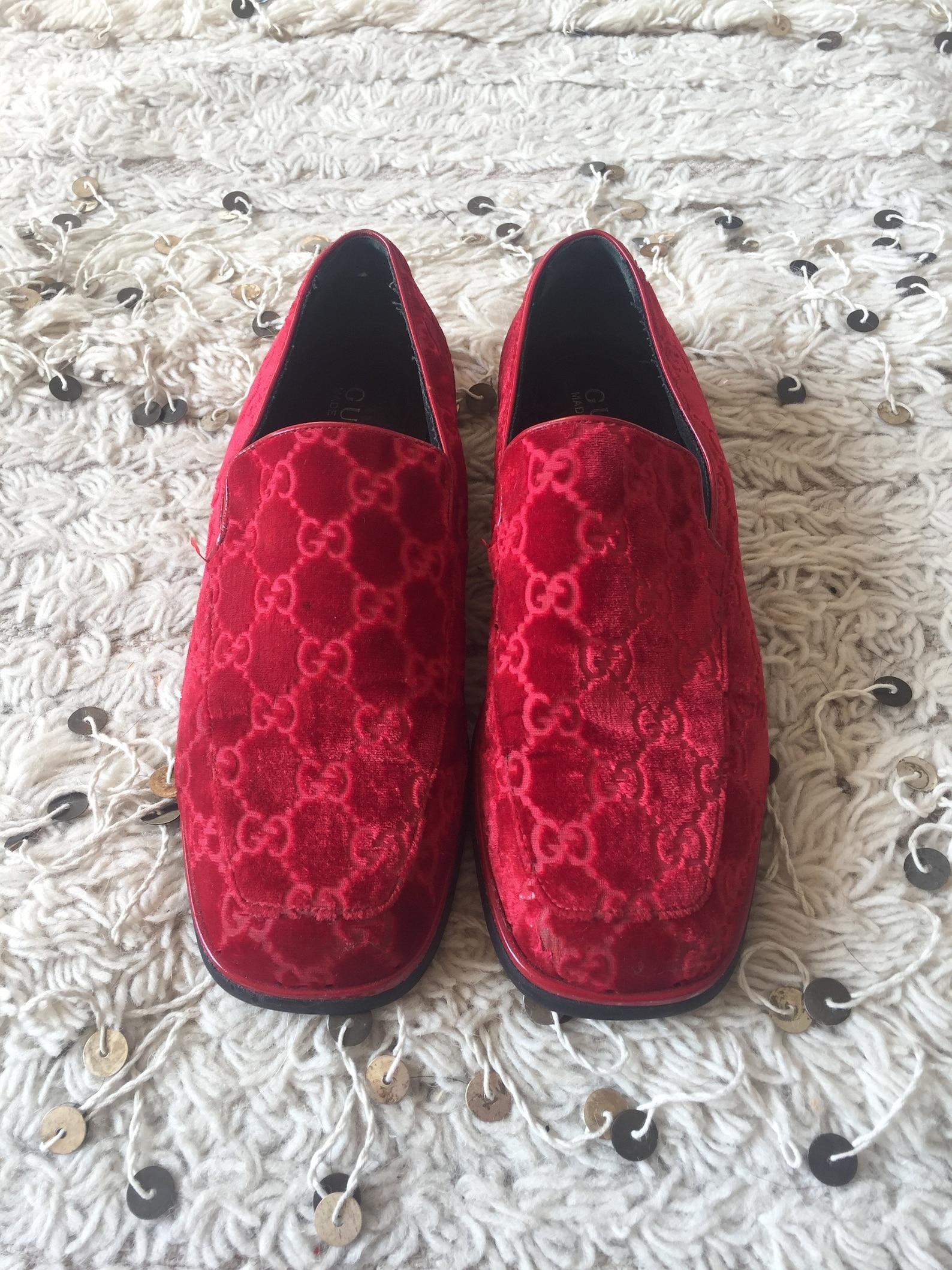 vintage gucci gg guccissima monogram red velvet flats ballet slippers loafers us 6.5 eu 36.5