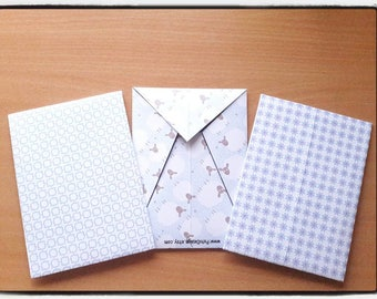 Set of 3 Origami Envelopes, light blue