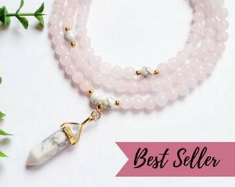 Rose Quartz mala • Mala beads 108 • Howlite necklace • Japa mala • Meditation jewelry • Yoga mala necklace • Zen gift for her • Mom yoga