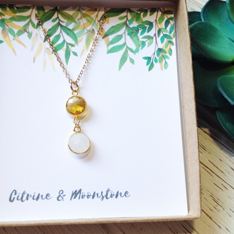 Layering Necklaces November Birthstone Necklace Multi Stone Necklace Citrine Necklace Gold Moonstone Healing Crystal Necklace