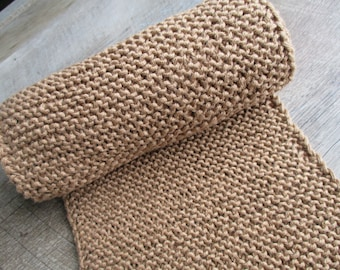 Hand Knit Cotton Scarf - Tan