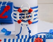 Nautical Wedding Unity Candles Set Handmade Candle Ceremony Candles Pillar Candle Beach Wedding White and Blue Anchor Wedding Lifebuoy 3pcs