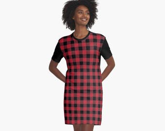 Plaid Dress, Black and Red Plaid, Plaid, tartan dress, Dress, T-Shirt Dress, plaid pattern, Punk, Alternative, T-shirt Dress, Tshirt Dress
